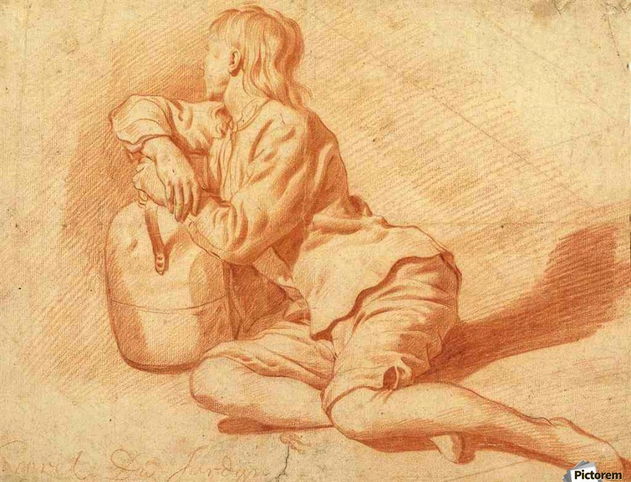 Study of a seated boy leaning on a flagon  Print
