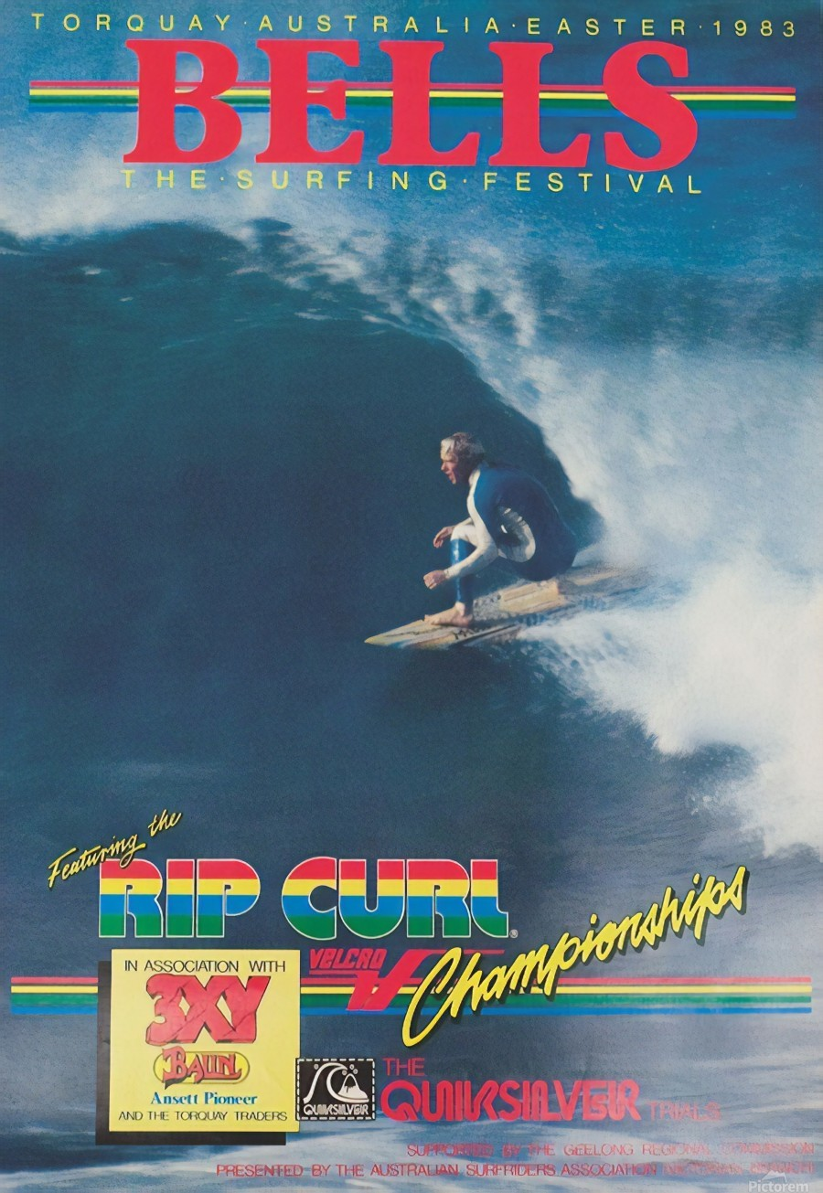 1983 RIP CURL BELLS BEACH EASTER Surfing Championship Competition Print - Surfing Poster  Print