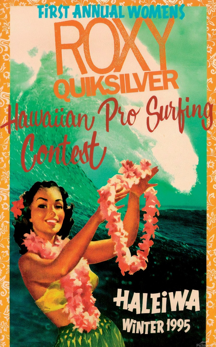 1995 ROXY QUICKSILVER HAWAII PRO Surfing Competition Poster  Print