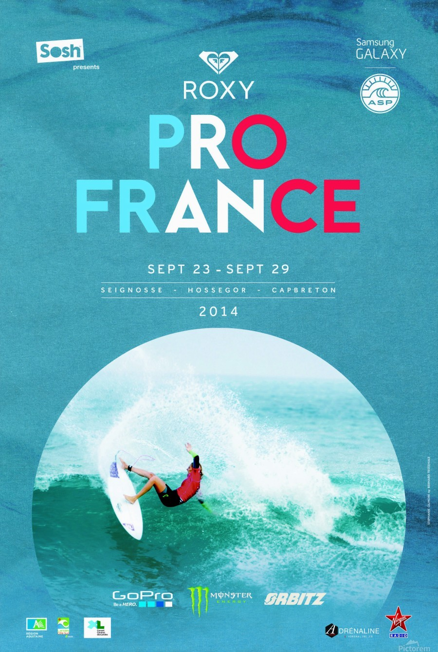 2014 ROXY PRO FRANCE Surfing Competition Poster  Print