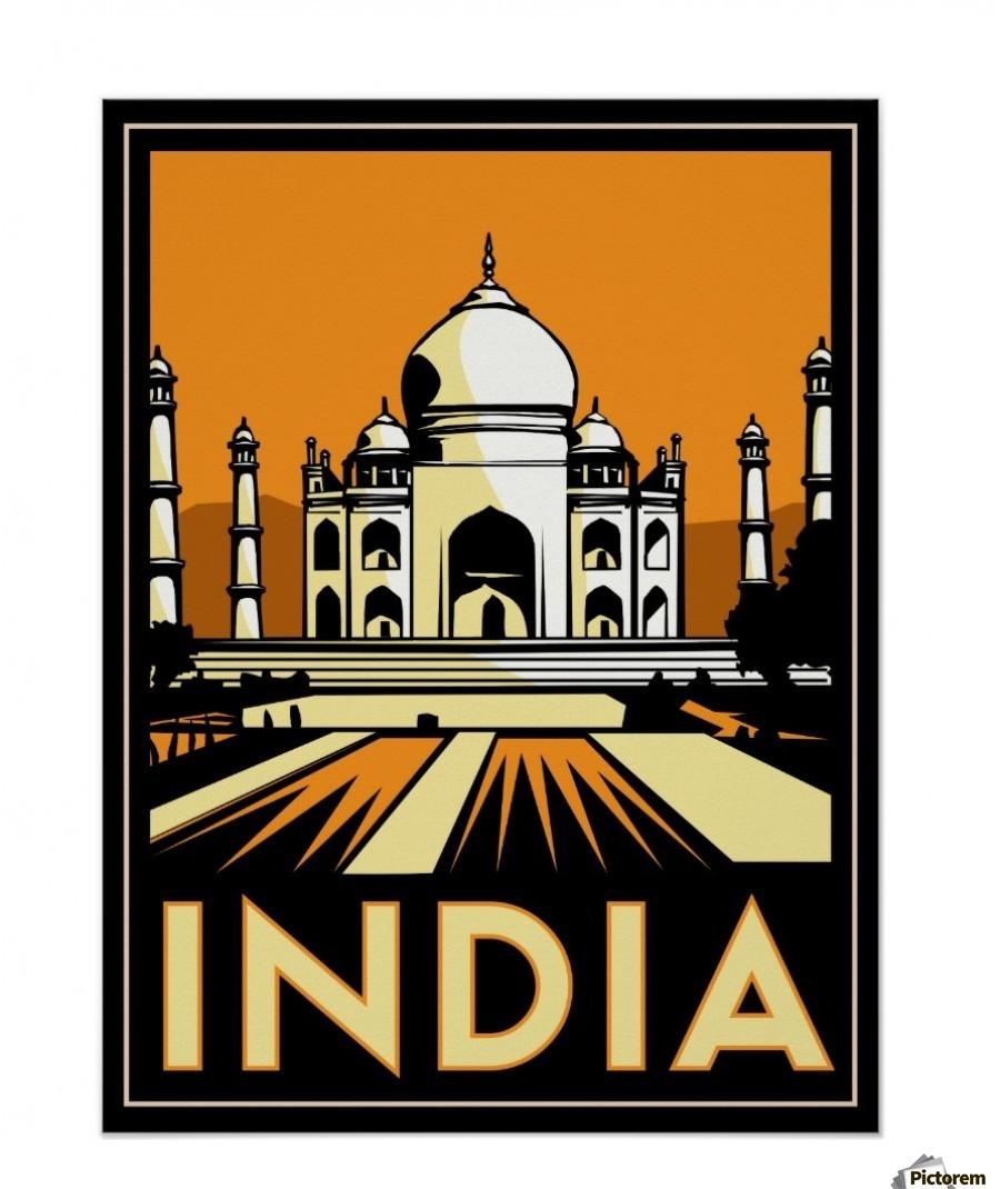 taj mahal india art deco retro travel vintage poster vintage poster canvas. Black Bedroom Furniture Sets. Home Design Ideas