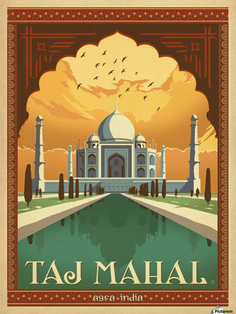 Taj Mahal vintage travel poster for Agra India - VINTAGE POSTER Canvas