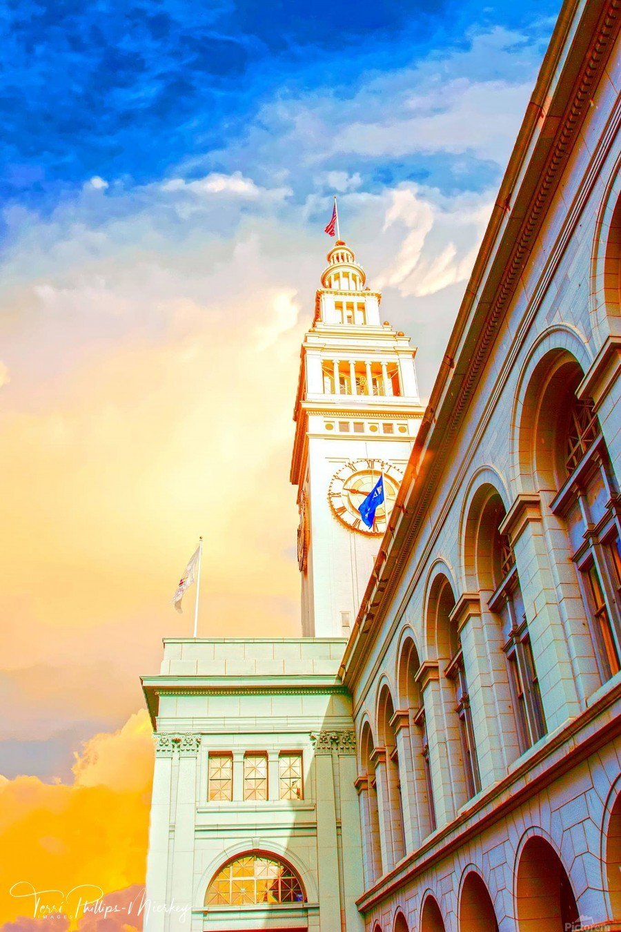San Francisco Ferry Building Clock Tower By Terri Phillips Mierkey  Print