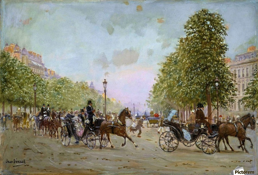 The Promenade on the Champs-Elysees  Print