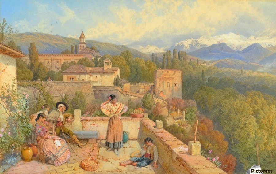 The Sierra Nevada from the Alhambra  Print