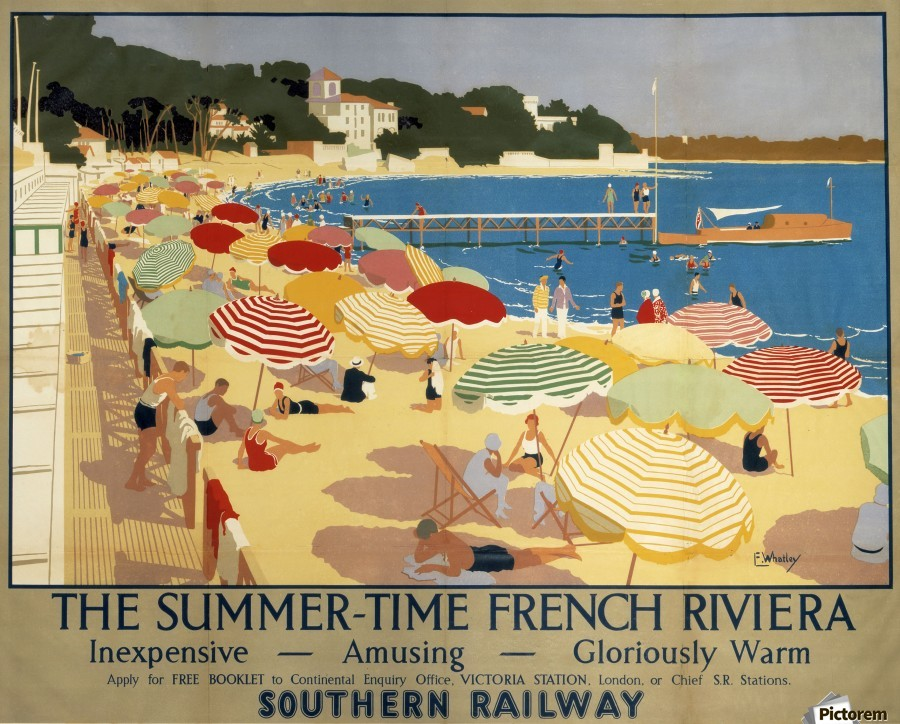 The Summertime French Riviera Southern Railway travel poster  Print