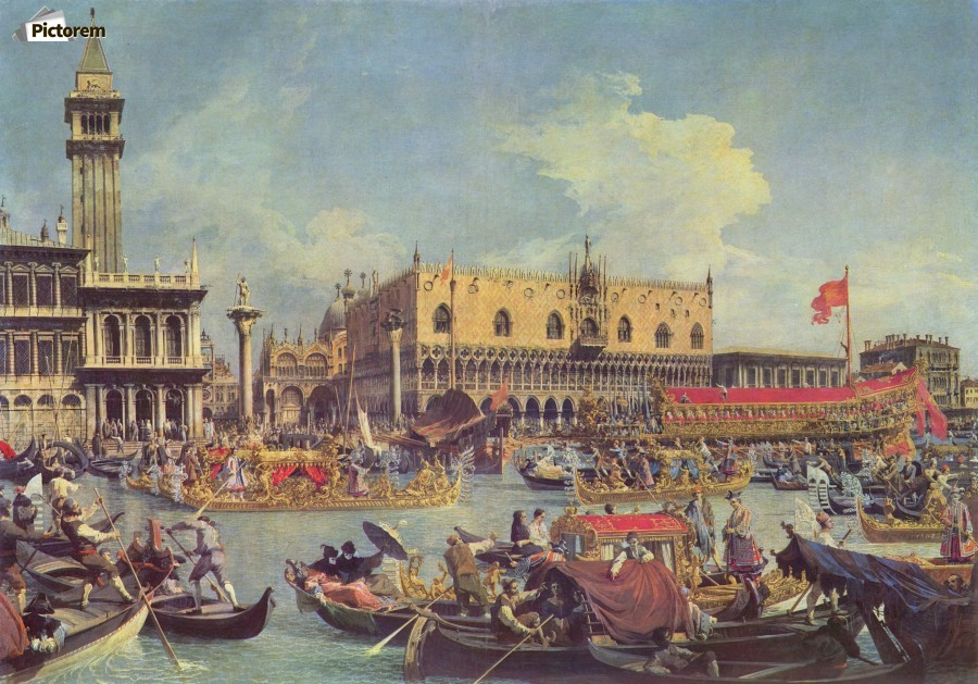 """Canaletto /'Return of the Bucintoro to the Molo on Ascension Day/' Canvas Art 30/"""""""