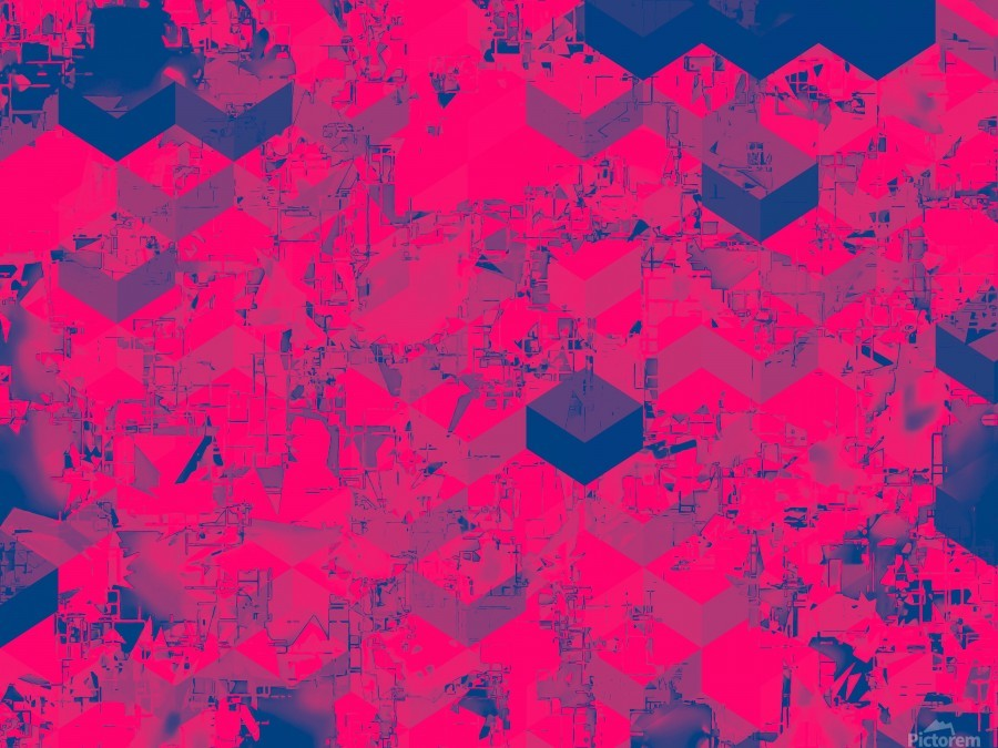 geometric square pattern abstract in pink blue  Print