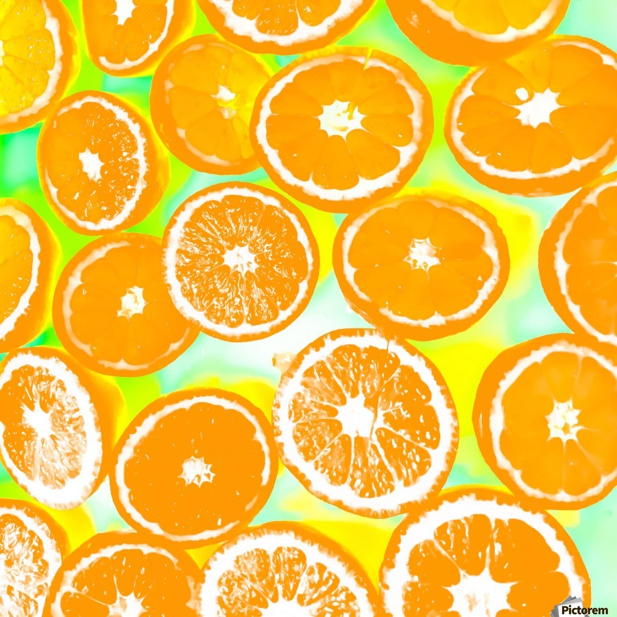 juicy orange pattern abstract with yellow and green background  Print