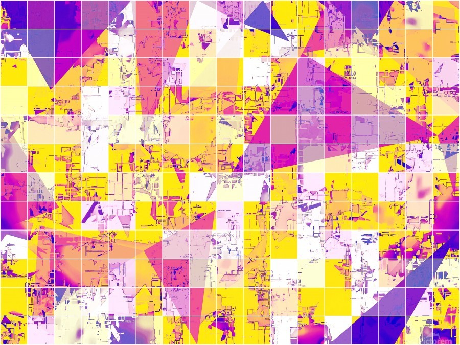 geometric square and triangle pattern abstract in pink yellow blue  Print