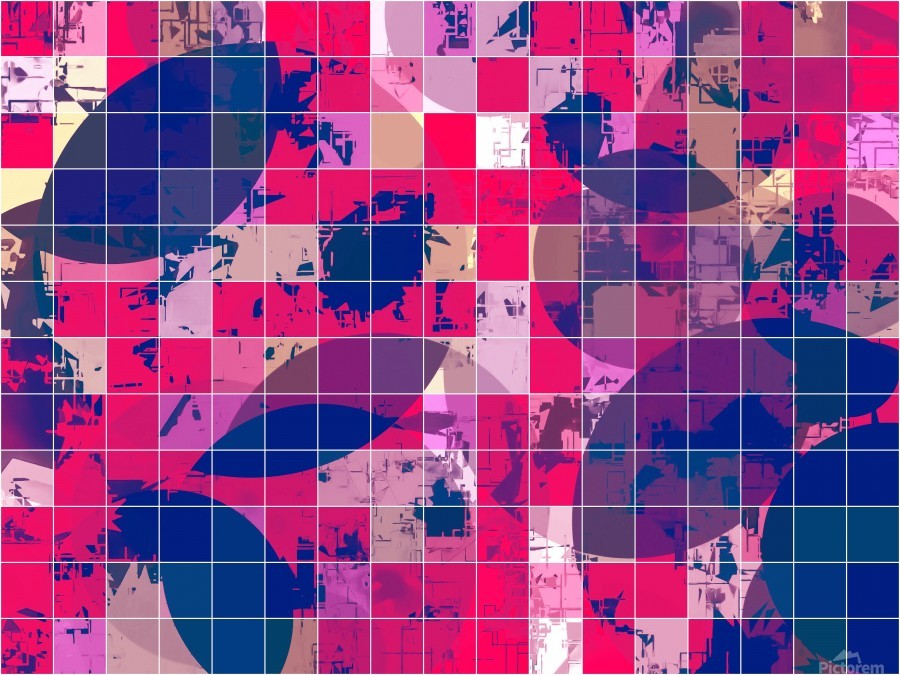 geometric square and circle pattern abstract background in red pink blue  Print