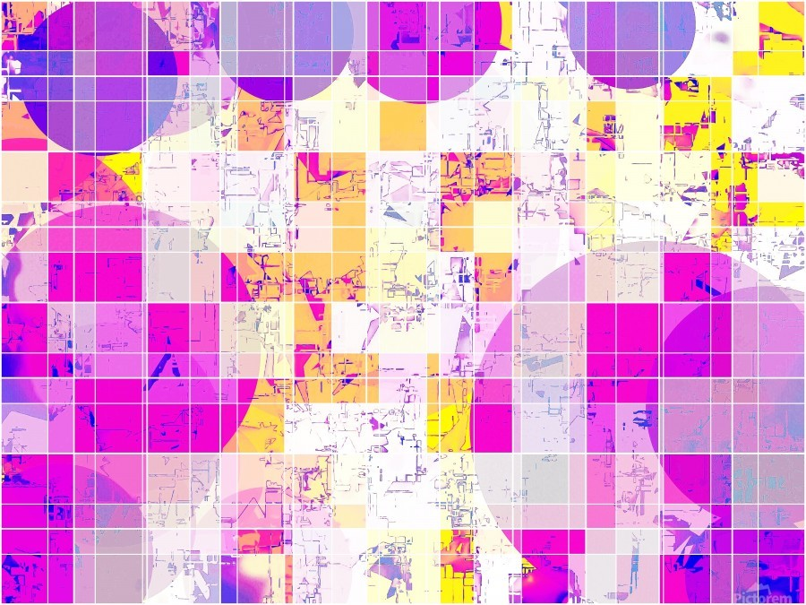 geometric square and circle pattern abstract in pink purple yellow  Print
