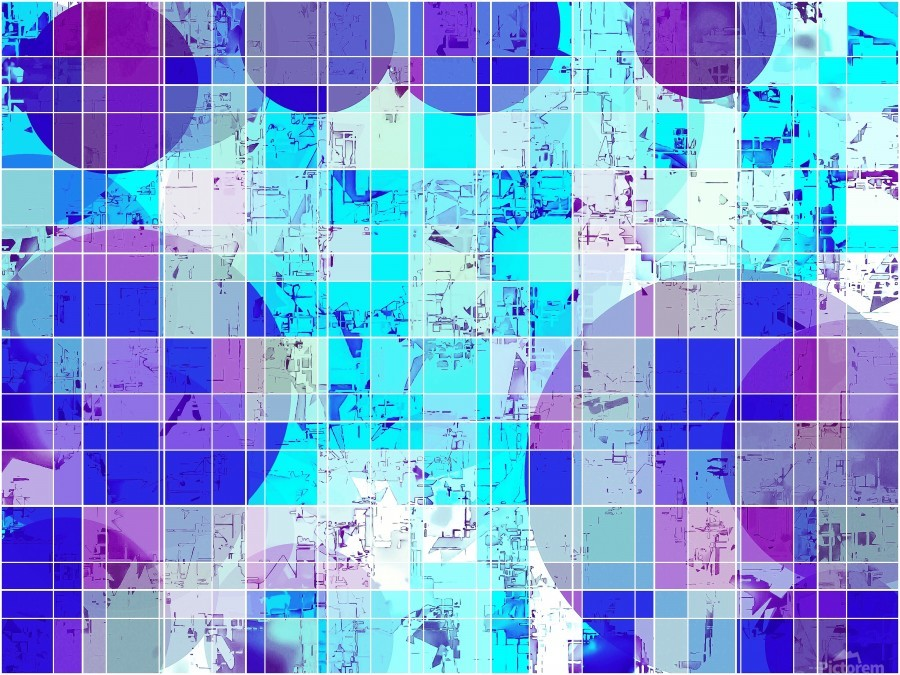 geometric square and circle pattern abstract in blue  Print