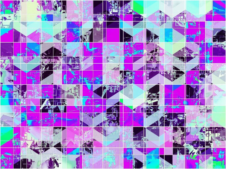 geometric square pattern abstract in purple blue  Print