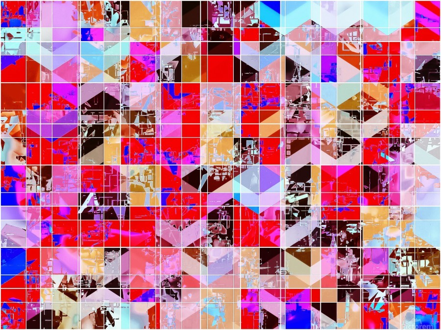 geometric square and triangle pattern abstract in red pink blue  Print