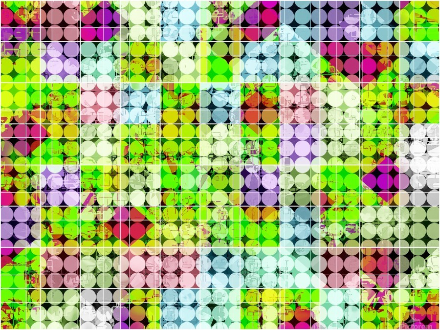 geometric square and circle pattern abstract in green pink  Print