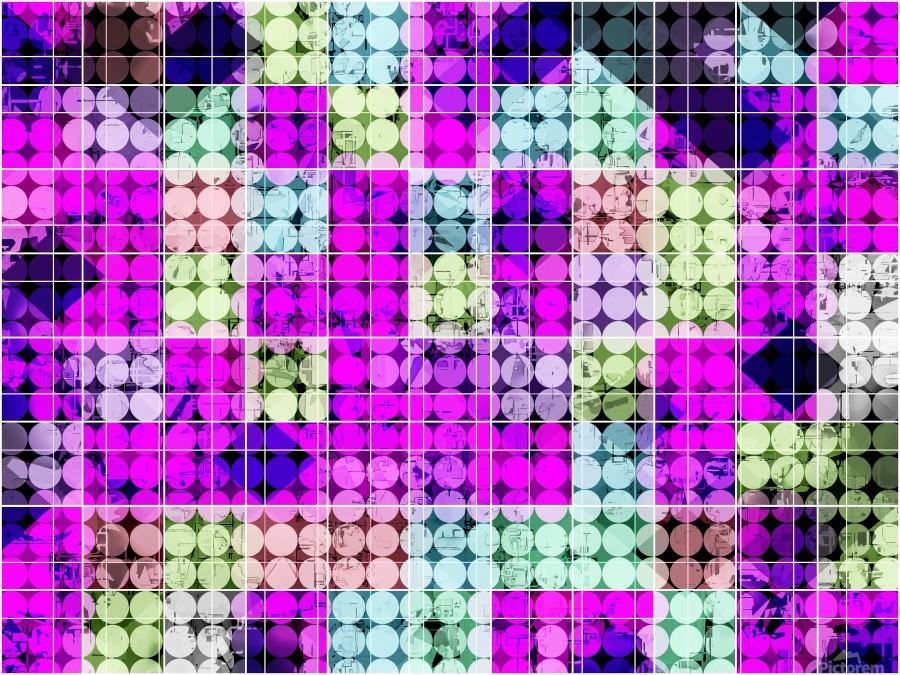 geometric square and circle pattern abstract in pink blue  Print