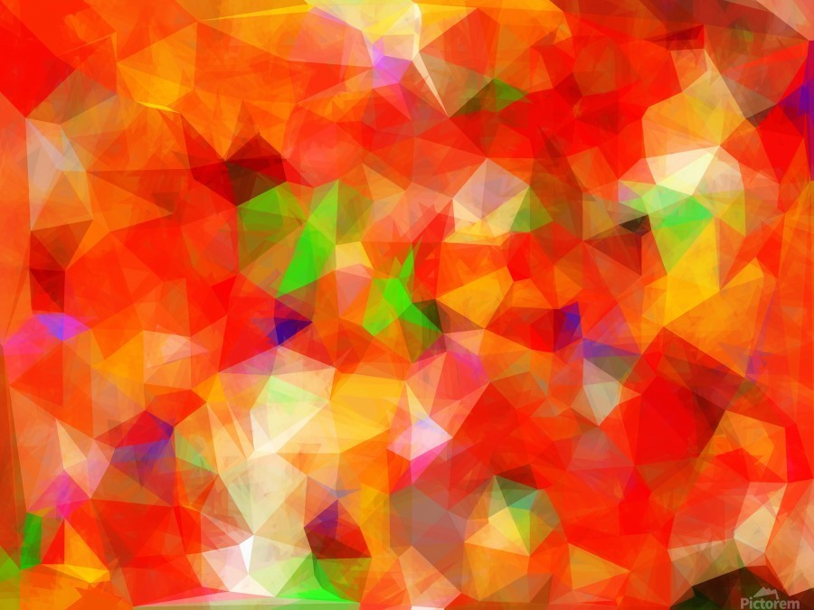 geometric triangle pattern abstract background in red orange green -  TimmyLA - Canvas Artwork