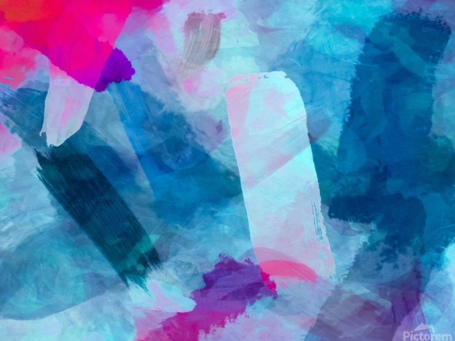 splash painting texture abstract background in blue pink  Print