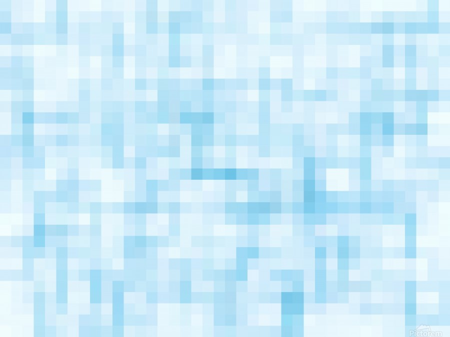 geometric square pixel pattern abstract in blue  Print