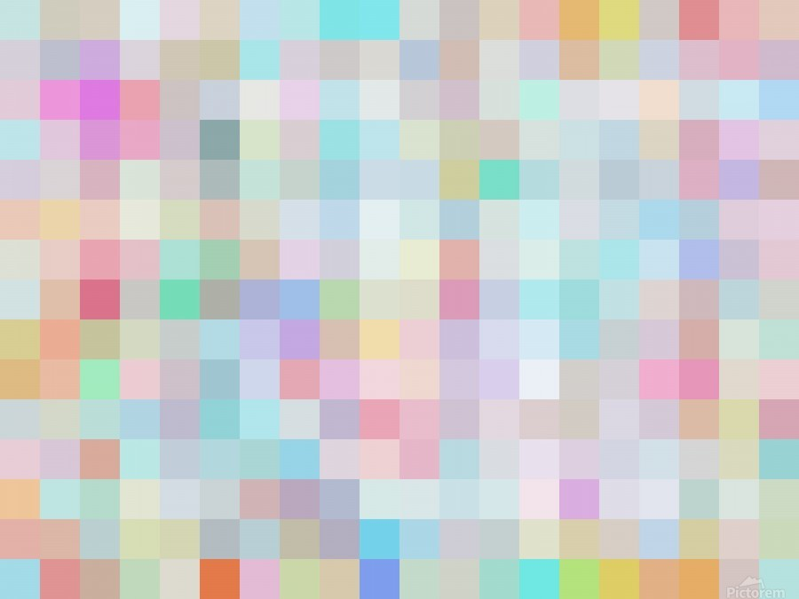 geometric square pixel pattern abstract in blue and pink  Print