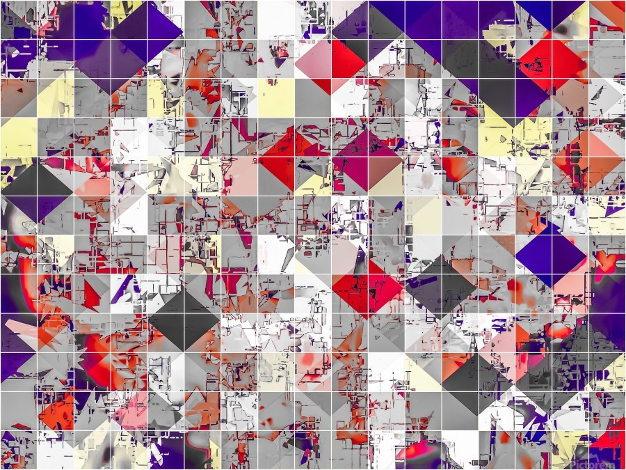 geometric square pixel pattern abstract in purple orange red  Print