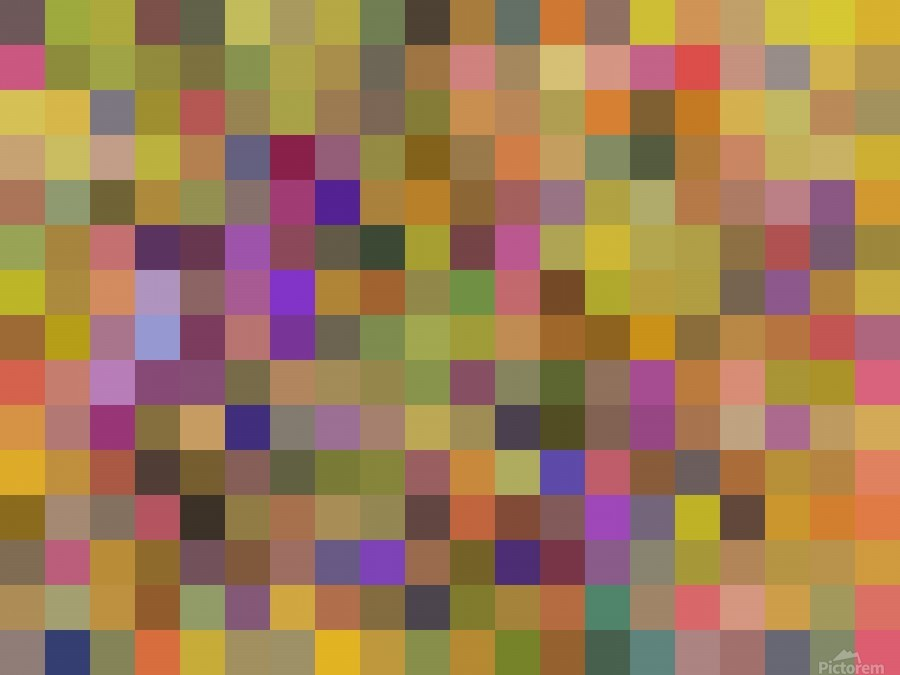 geometric square pixel pattern abstract in yellow green purple  Print