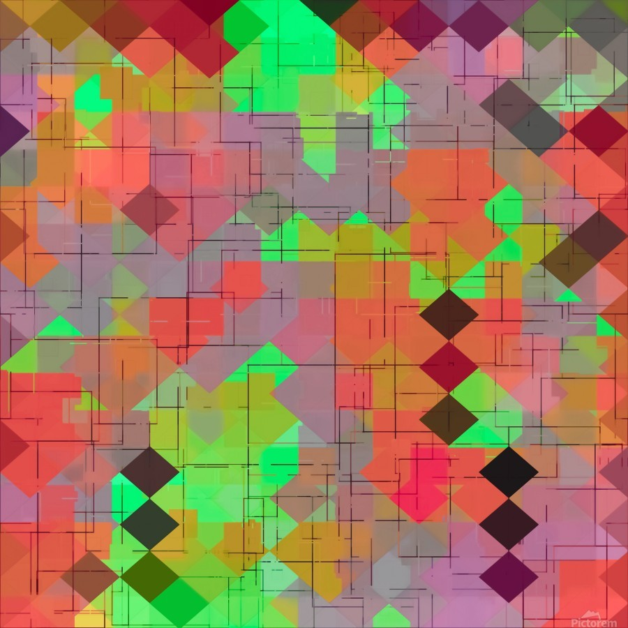 geometric square pixel pattern abstract in green orange red  Print