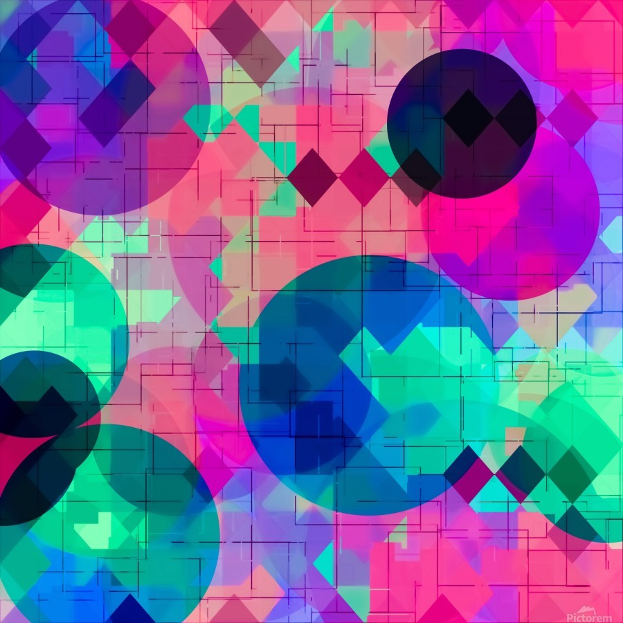 geometric square pixel and circle pattern abstract in pink blue green  Print
