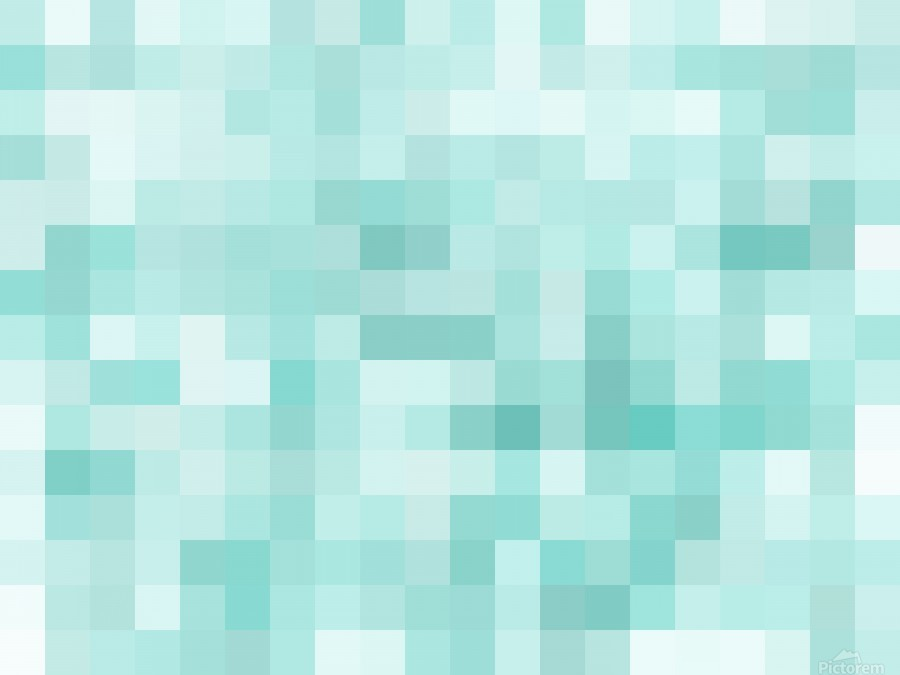 geometric square pixel pattern abstract in green  Print