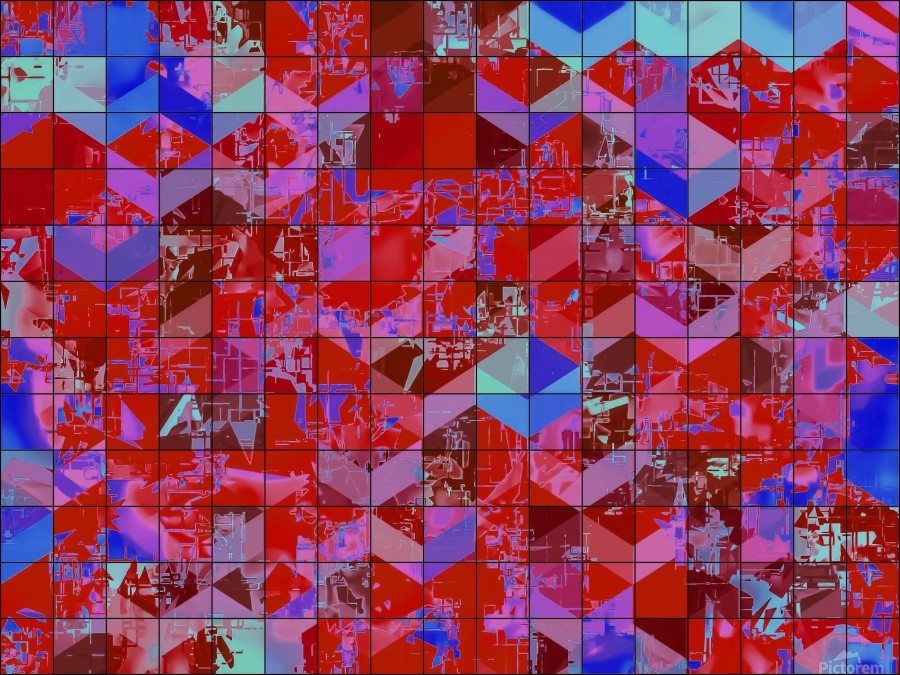 geometric square and triangle pattern abstract in red and blue  Print