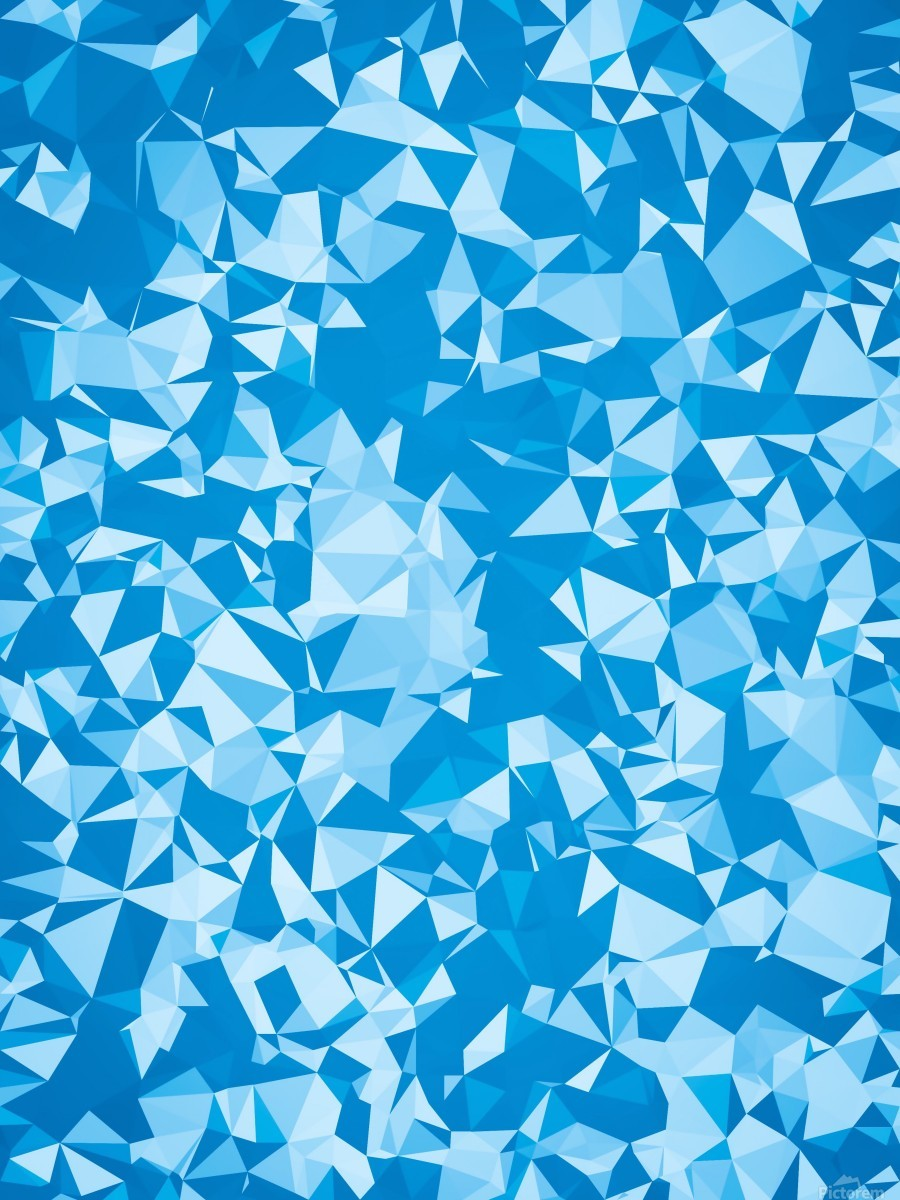 geometric triangle pattern abstract in blue  Print
