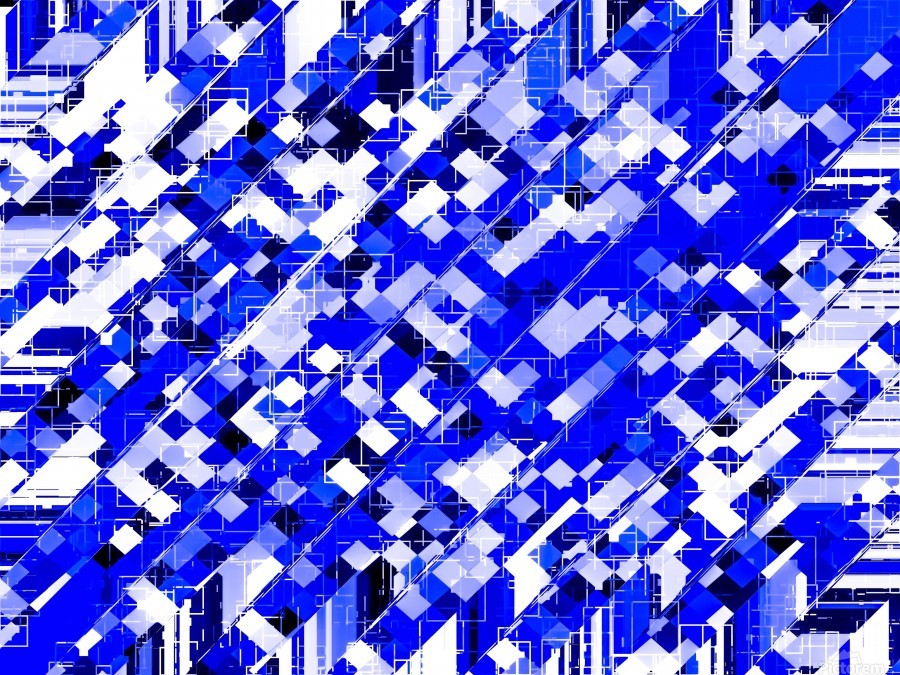 geometric square pixel pattern abstract background in blue  Print