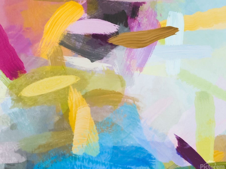 splash painting texture abstract background in yellow blue pink  Print