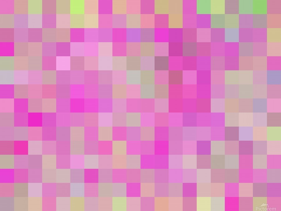 geometric square pixel pattern abstract background in pink blue green  Print