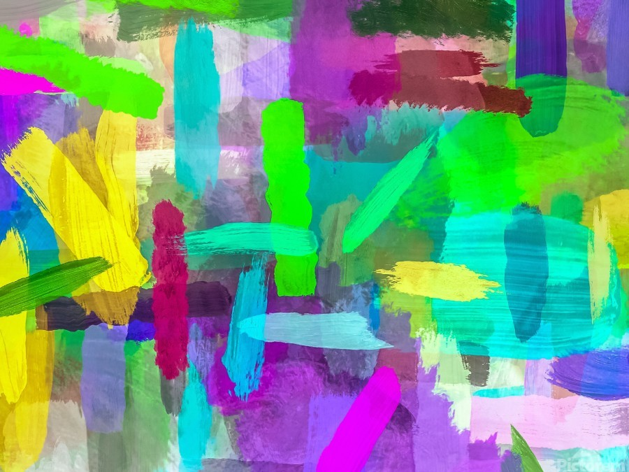 splash brush painting texture abstract background in green blue pink purple  Print