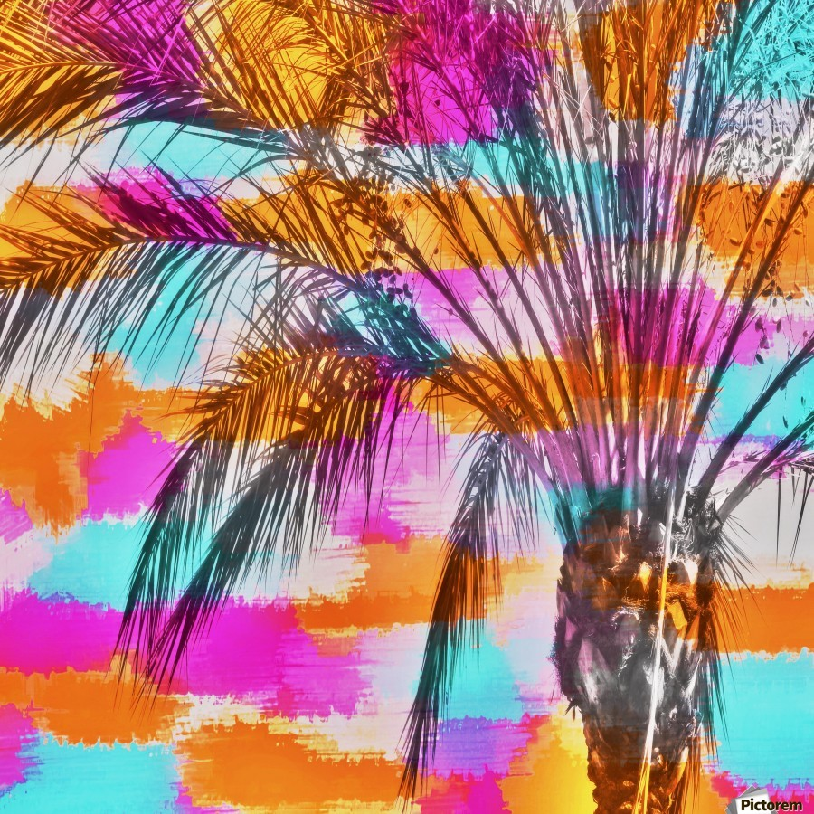 palm tree with colorful painting abstract background in pink orange blue  Print