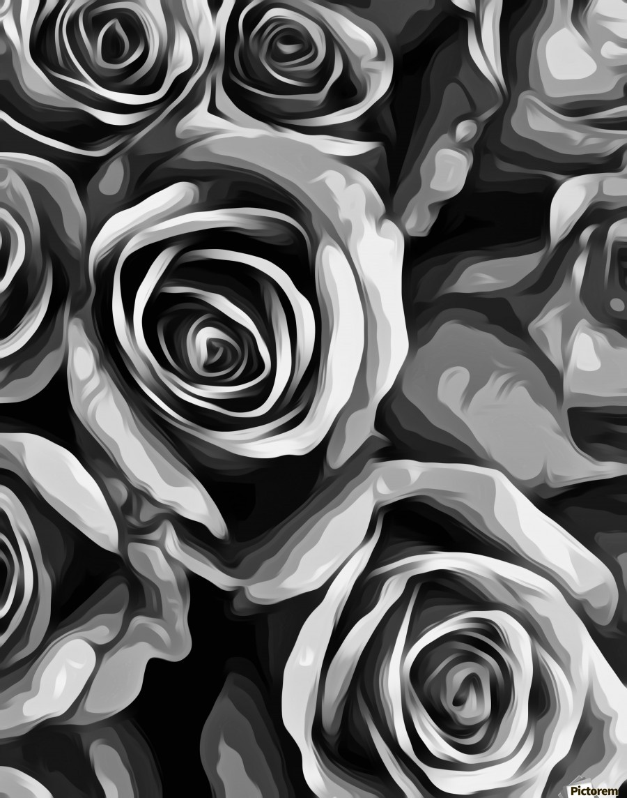 Painting roses texture in black and white impression sur acrylique impression sur toile