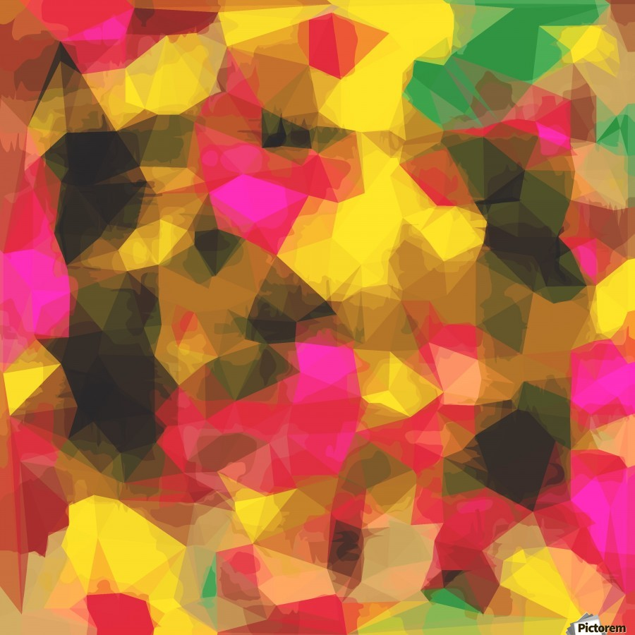 psychedelic geometric polygon shape pattern abstract in pink yellow green  Print