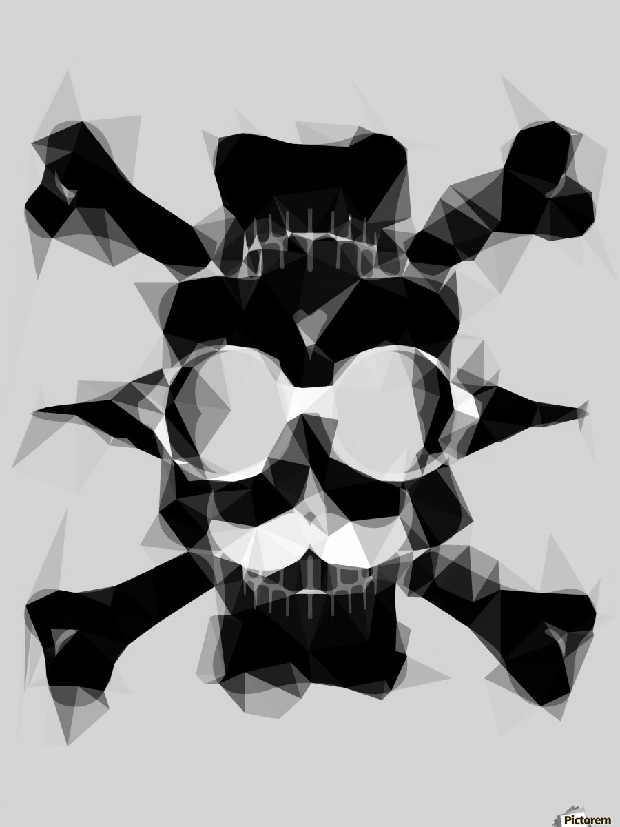 psychedelic skull art geometric triangle pattern abstract in black and white  Print
