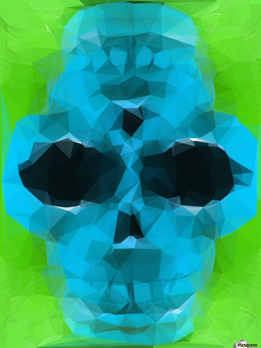 psychedelic skull art geometric triangle abstract pattern in blue and green  Print