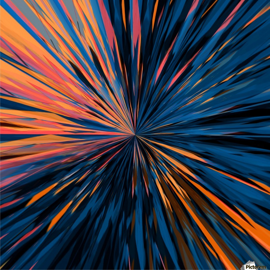 psychedelic splash painting abstract pattern in orange brown pink blue  Print