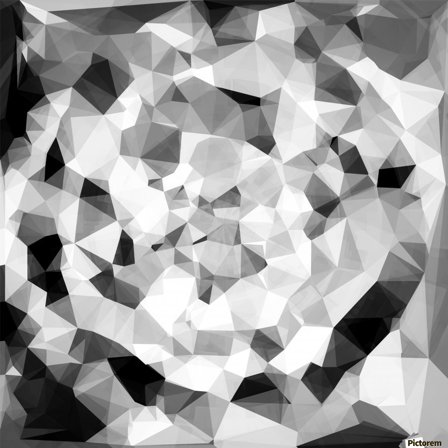 geometric polygon abstract pattern in black and white  Print