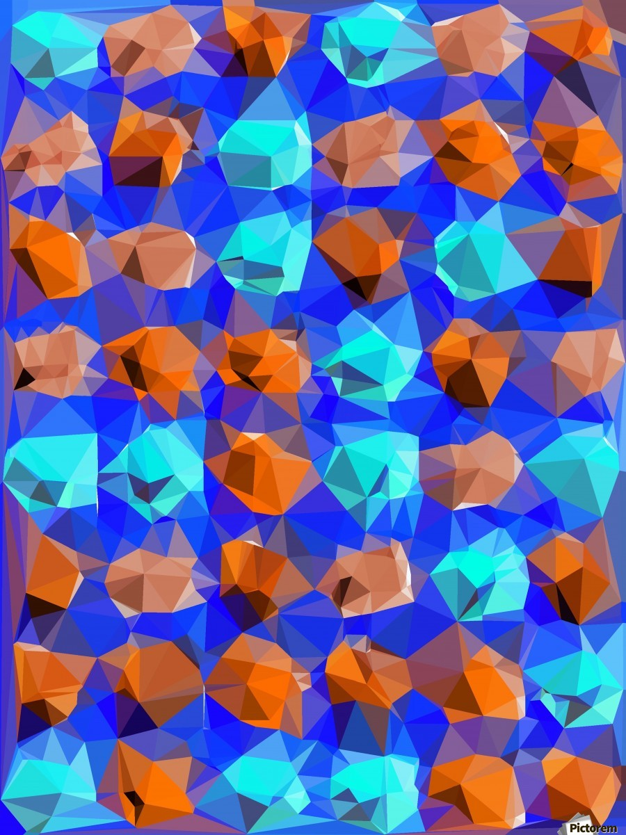 geometric polygon abstract pattern in blue and brown  Print
