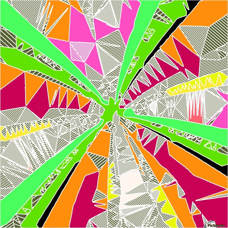 psychedelic geometric pattern drawing abstract background in green orange red pink  Print
