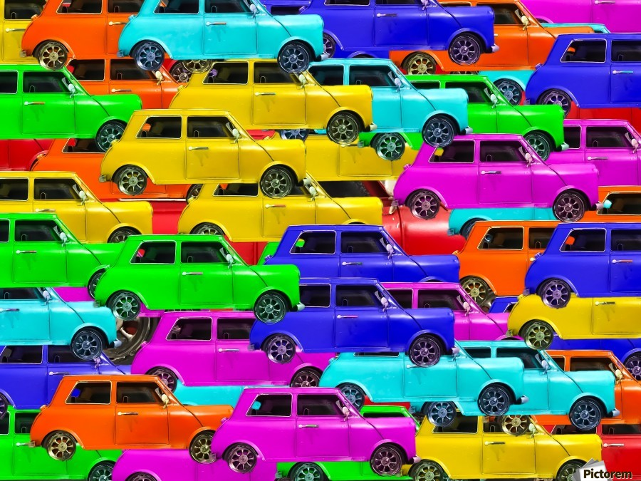 vintage car toy background in yellow blue pink green orange  Print