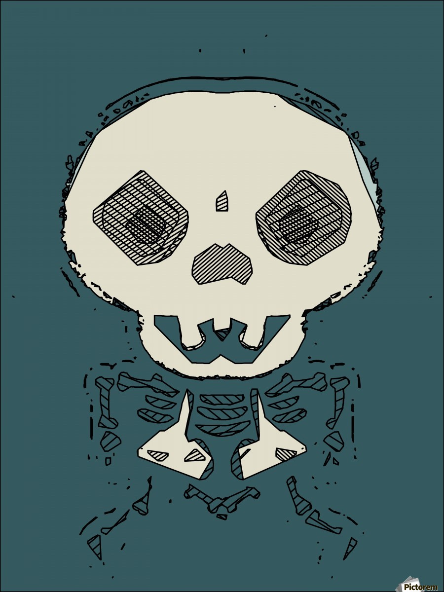 skull and bone graffiti drawing with green background  Print