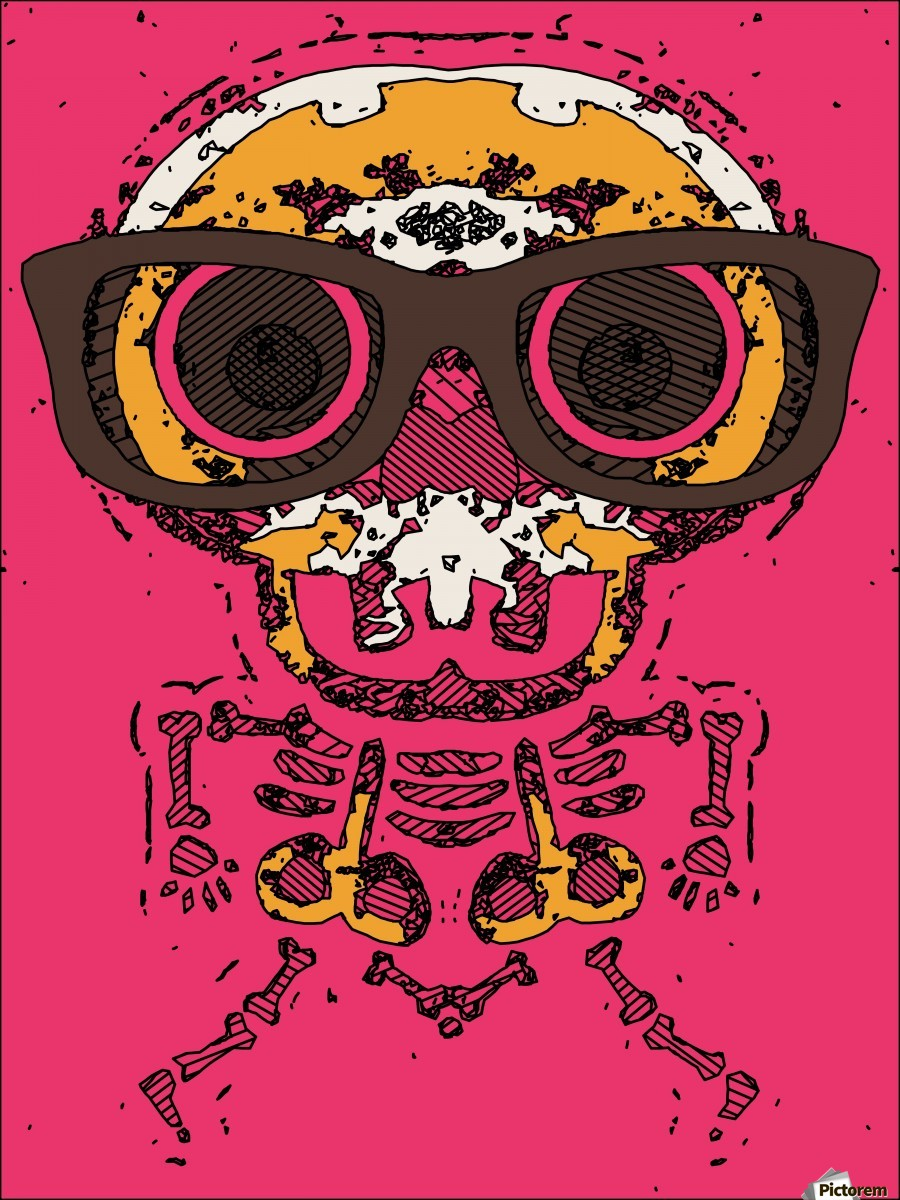funny skull and bone graffiti drawing in orange brown and pink  Print