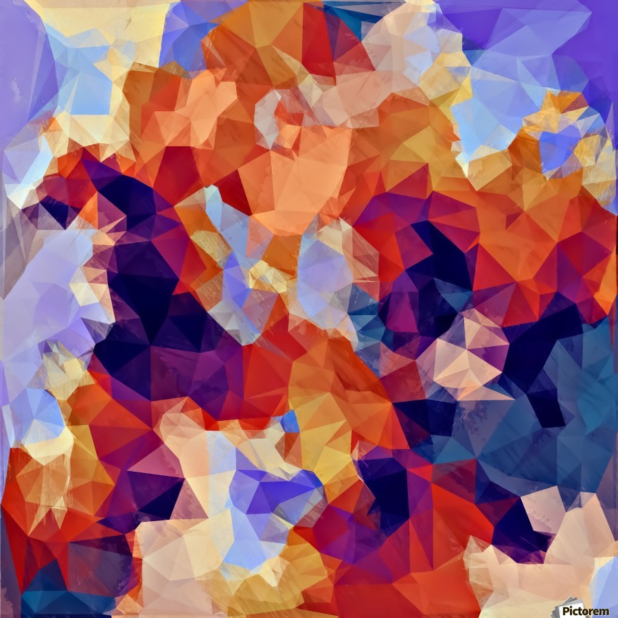 psychedelic geometric polygon pattern abstract in orange brown blue purple  Print