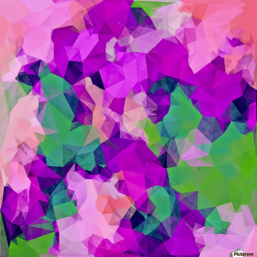psychedelic geometric polygon pattern abstract in pink purple green  Print